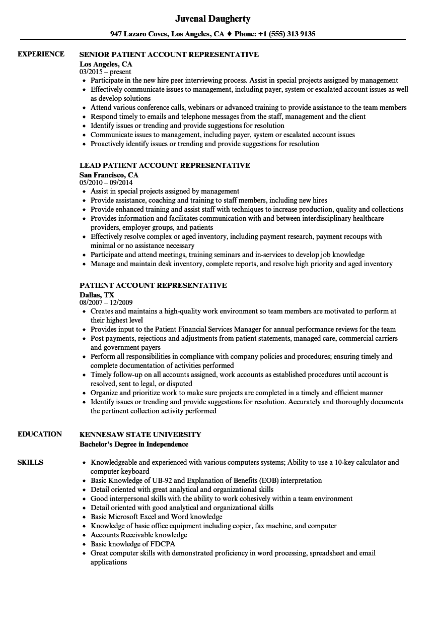 download patient account representative resume sample as image file - Account Representative Resume