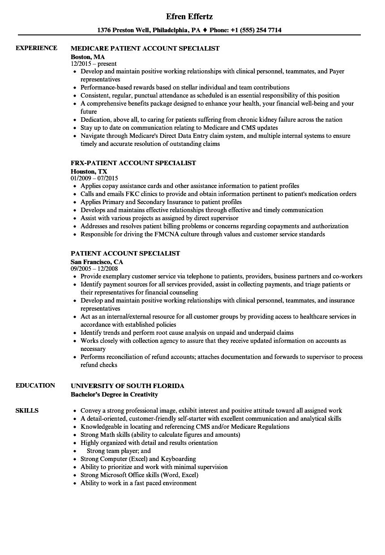 Patient Account Specialist Resume Samples | Velvet Jobs