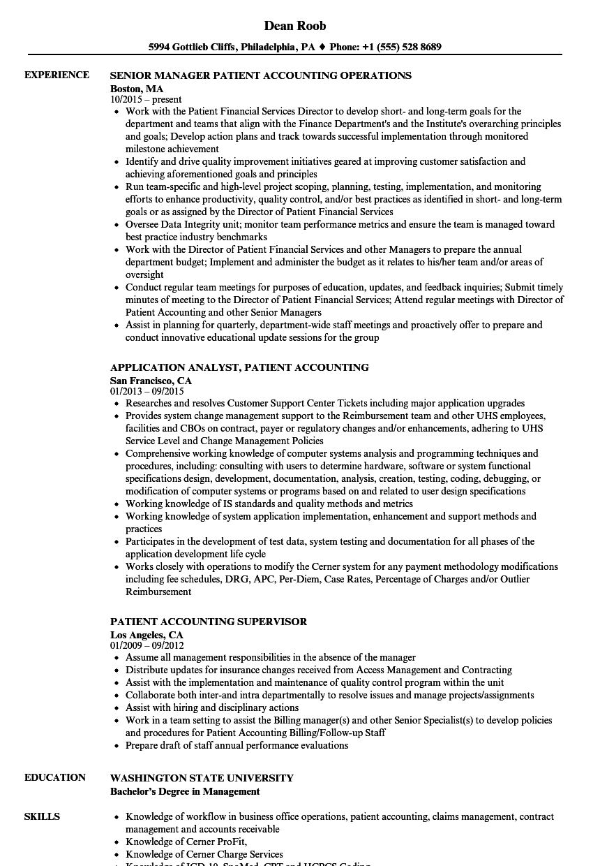 download patient accounting resume sample as image file - Cpa Resume Examples