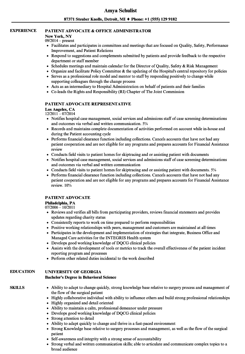 Patient Advocate Resume Samples | Velvet Jobs