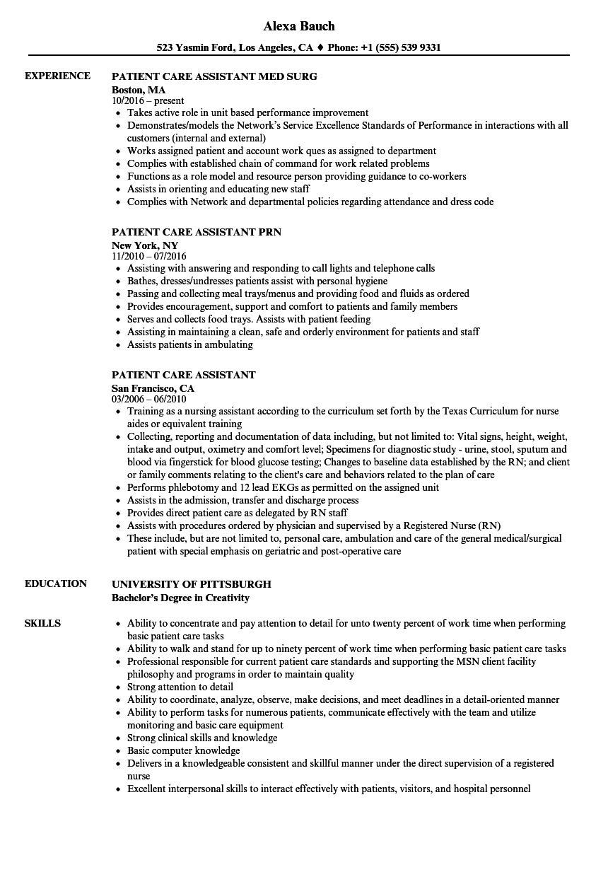 patient care assistant resume samples