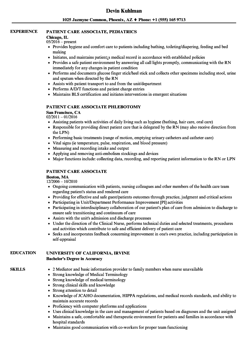 patient care associate resume samples