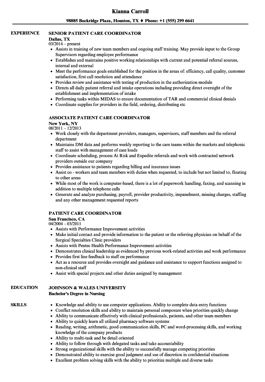 patient care coordinator resume samples