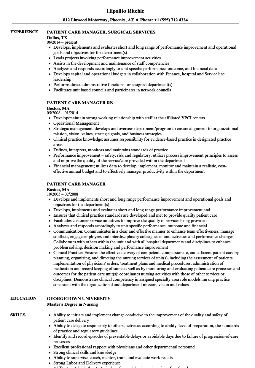Patient Care Manager Resume Samples | Velvet Jobs