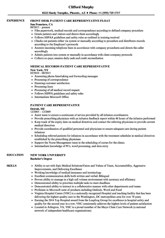 patient care representative resume samples