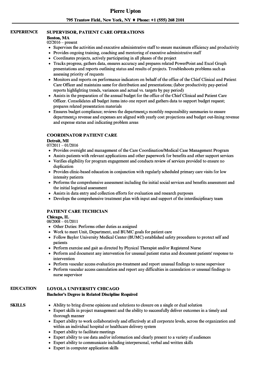 patient care resume samples