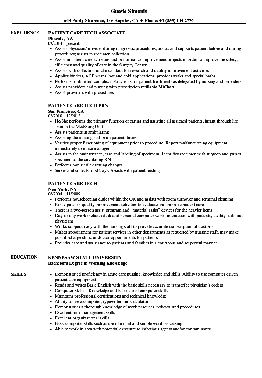 patient care tech resume samples