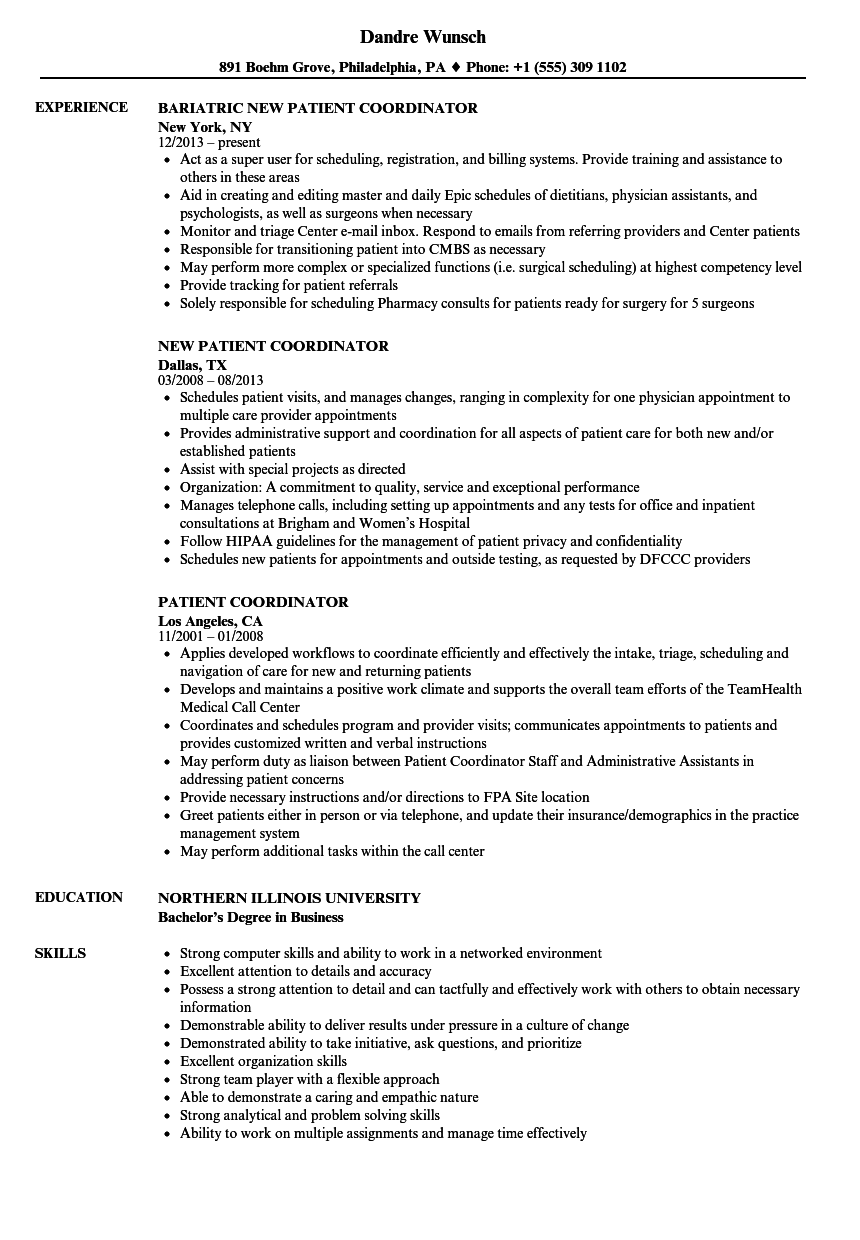 Patient Coordinator Resume Alluring Patient Coordinator Resume Samples  Velvet Jobs