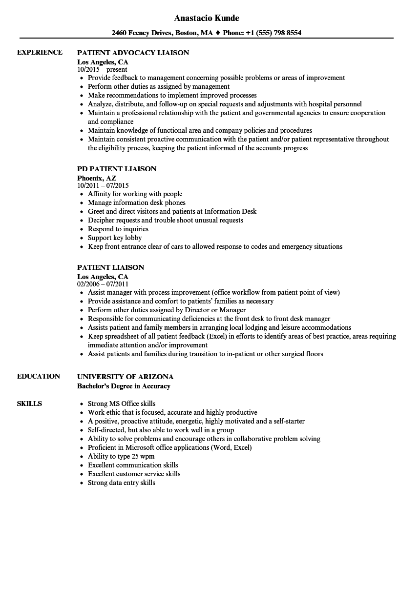 Patient Liaison Resume Samples | Velvet Jobs