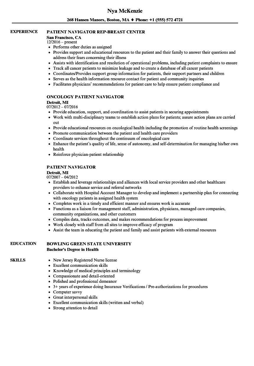 patient navigator resume samples