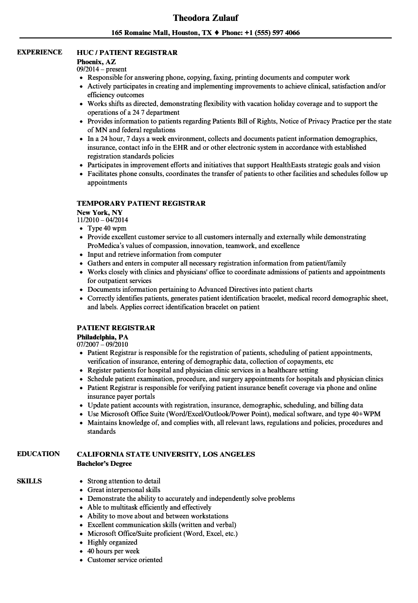 Download Patient Registrar Resume Sample As Image File