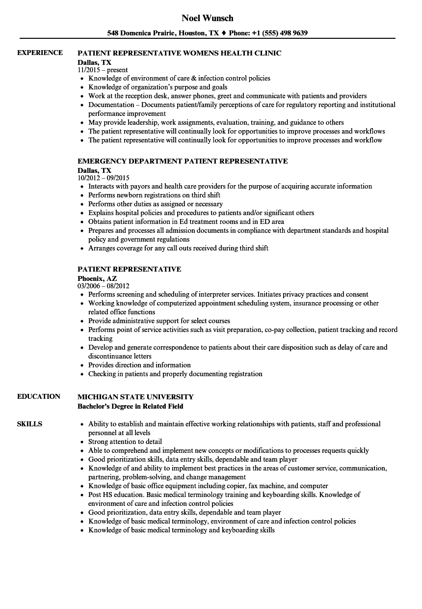 Download Patient Representative Resume Sample As Image File