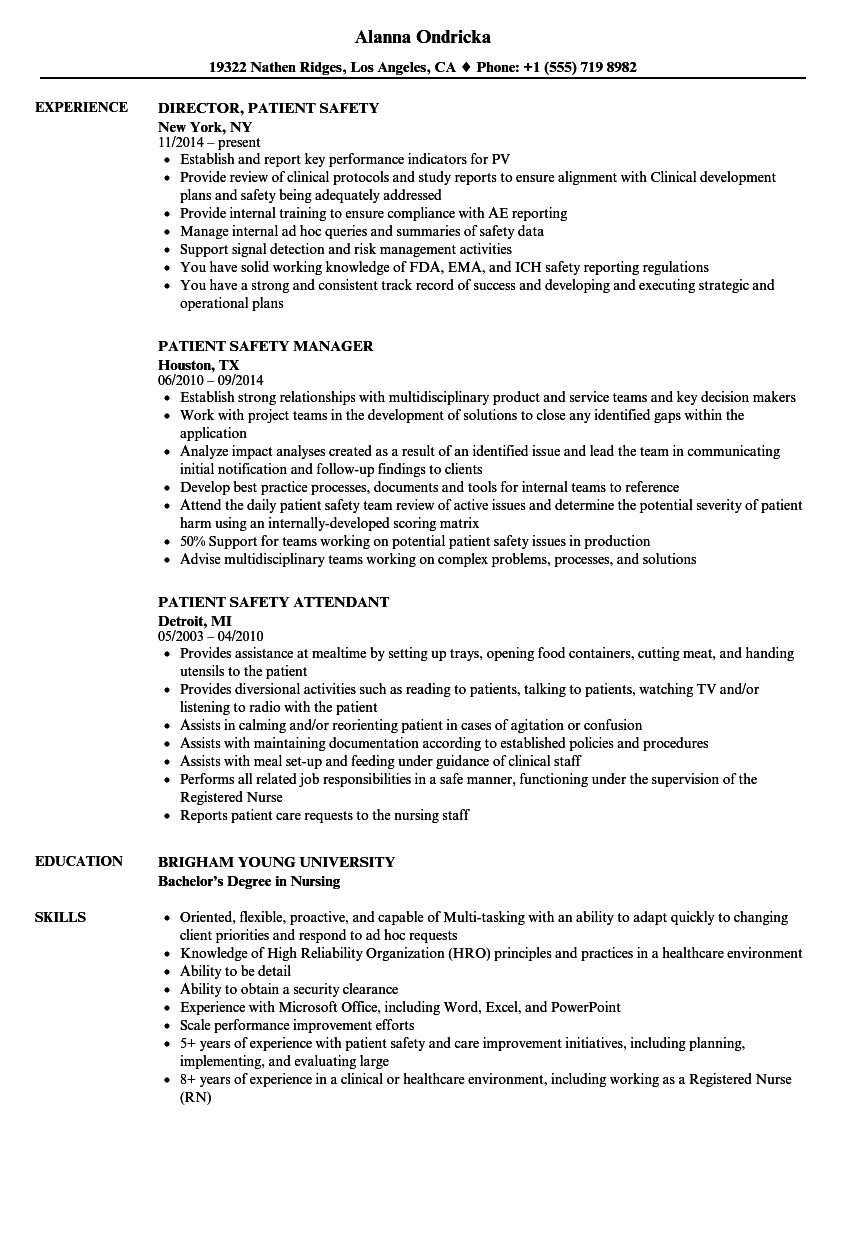 patient safety resume samples