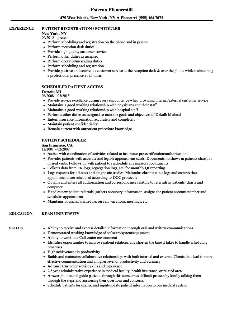 Patient Scheduler Resume Samples | Velvet Jobs