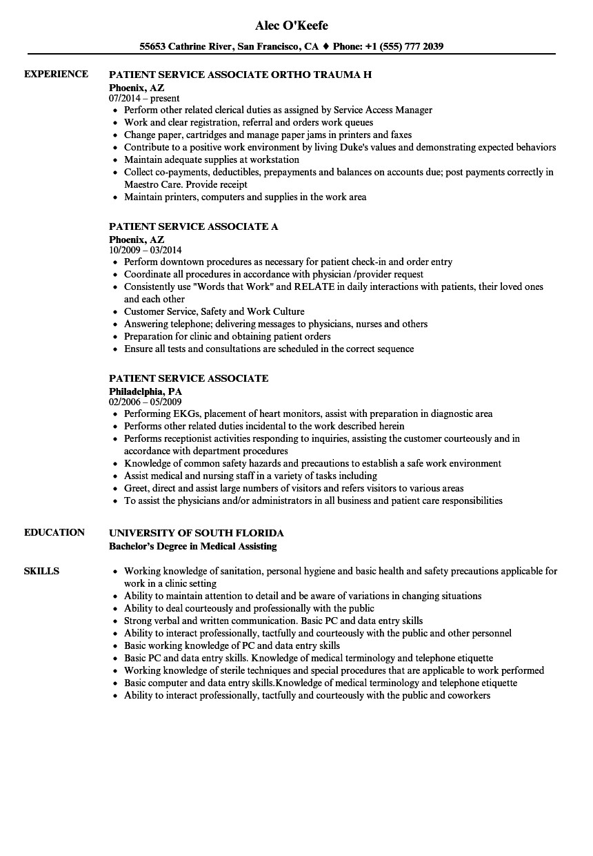 patient service associate resume samples