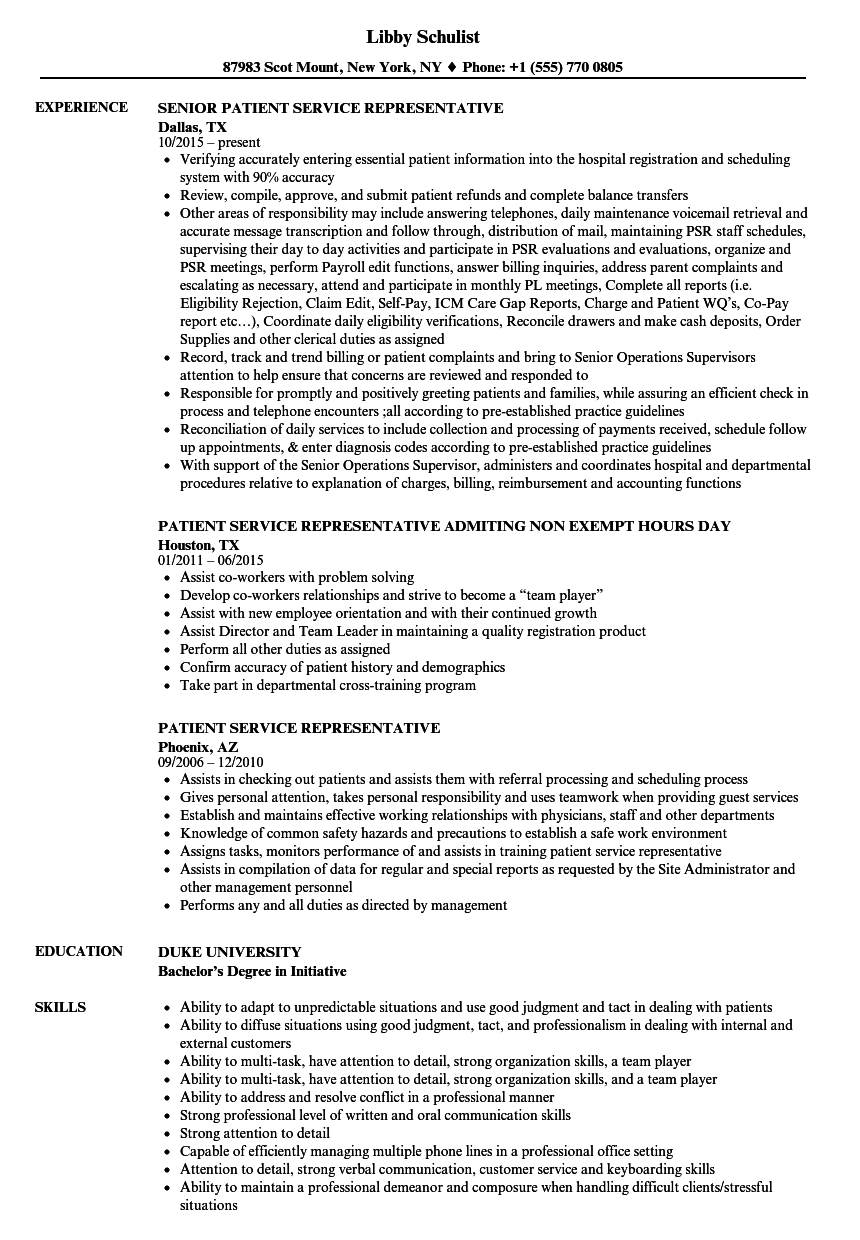 Patient Service Representative Resume Samples | Velvet Jobs