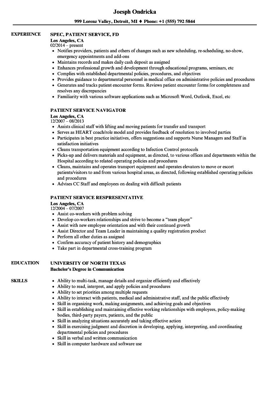 Patient Service Resume Samples | Velvet Jobs