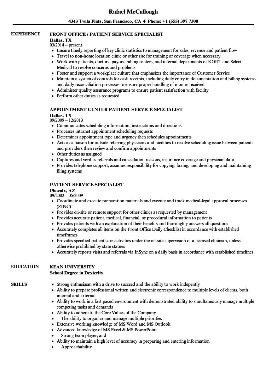 Patient Service Specialist Resume Samples | Velvet Jobs