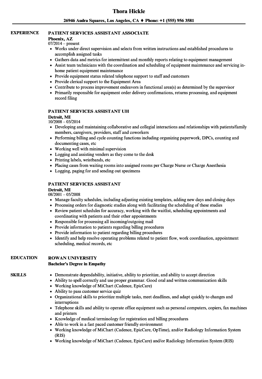 patient services assistant resume samples