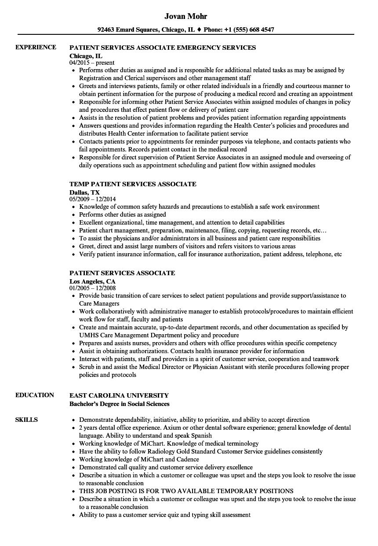 patient services associate resume samples
