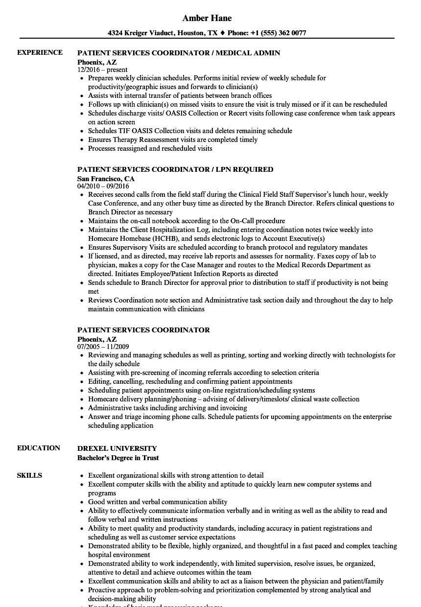 Patient Coordinator Resume Best Patient Services Coordinator Resume Samples  Velvet Jobs