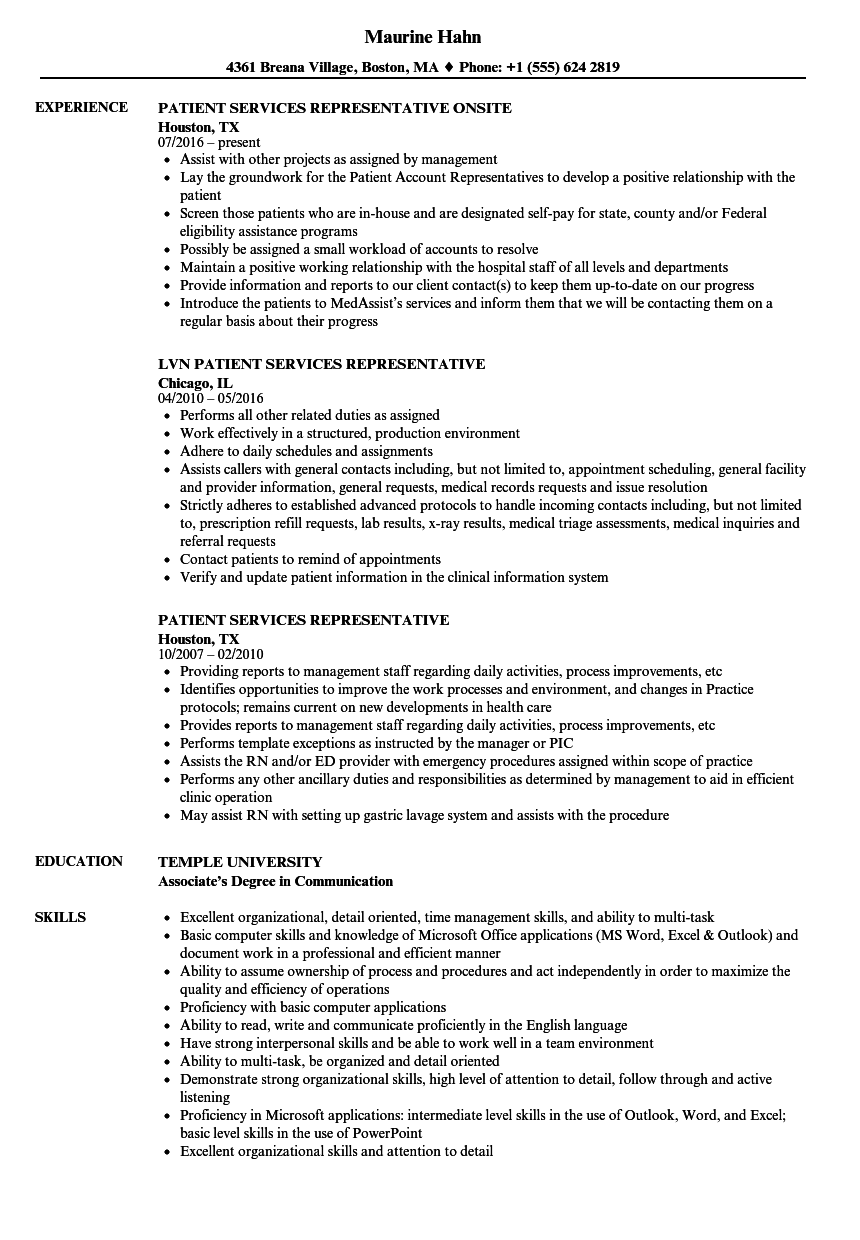 Patient Services Representative Resume Samples | Velvet Jobs