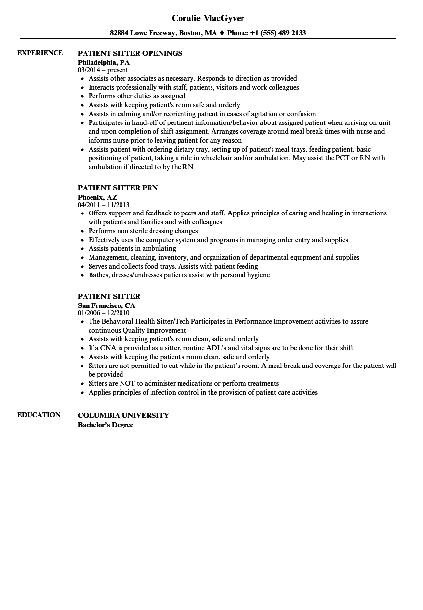 patient sitter resume samples