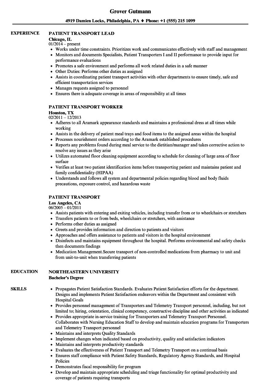 Patient Transport Resume Samples | Velvet Jobs