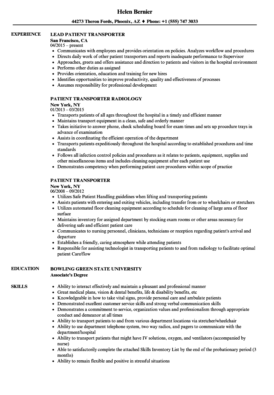 Patient Transporter Resume Samples JobHero - oukas.info