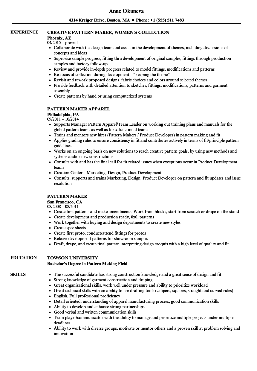 Pattern Maker Resume Samples Velvet Jobs