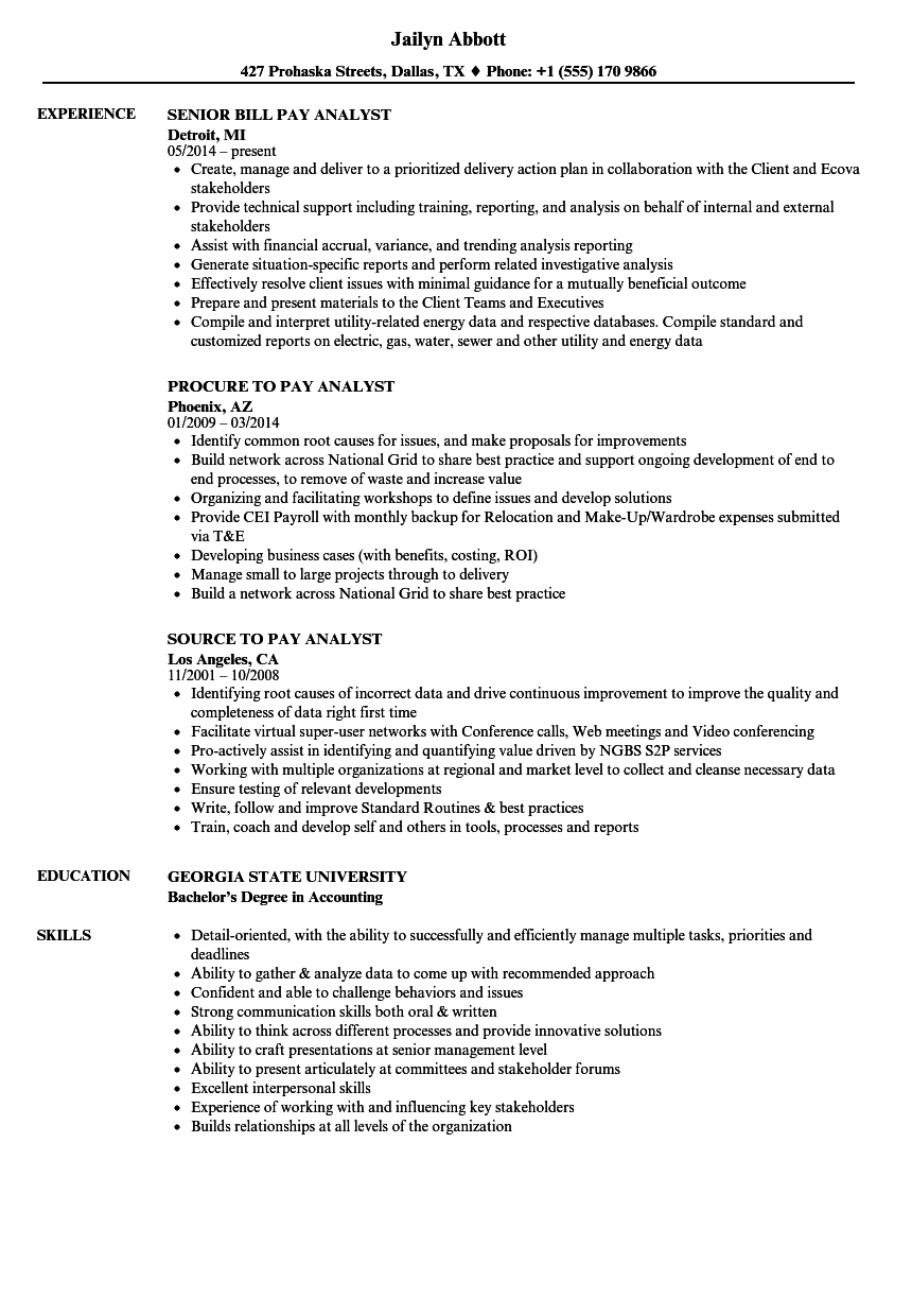 pay analyst resume samples