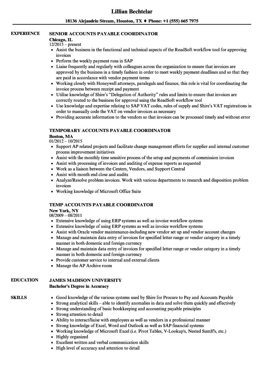 payable coordinator resume samples