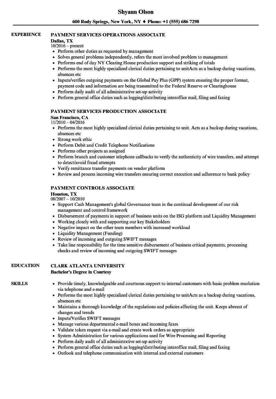 payment associate resume samples velvet jobs