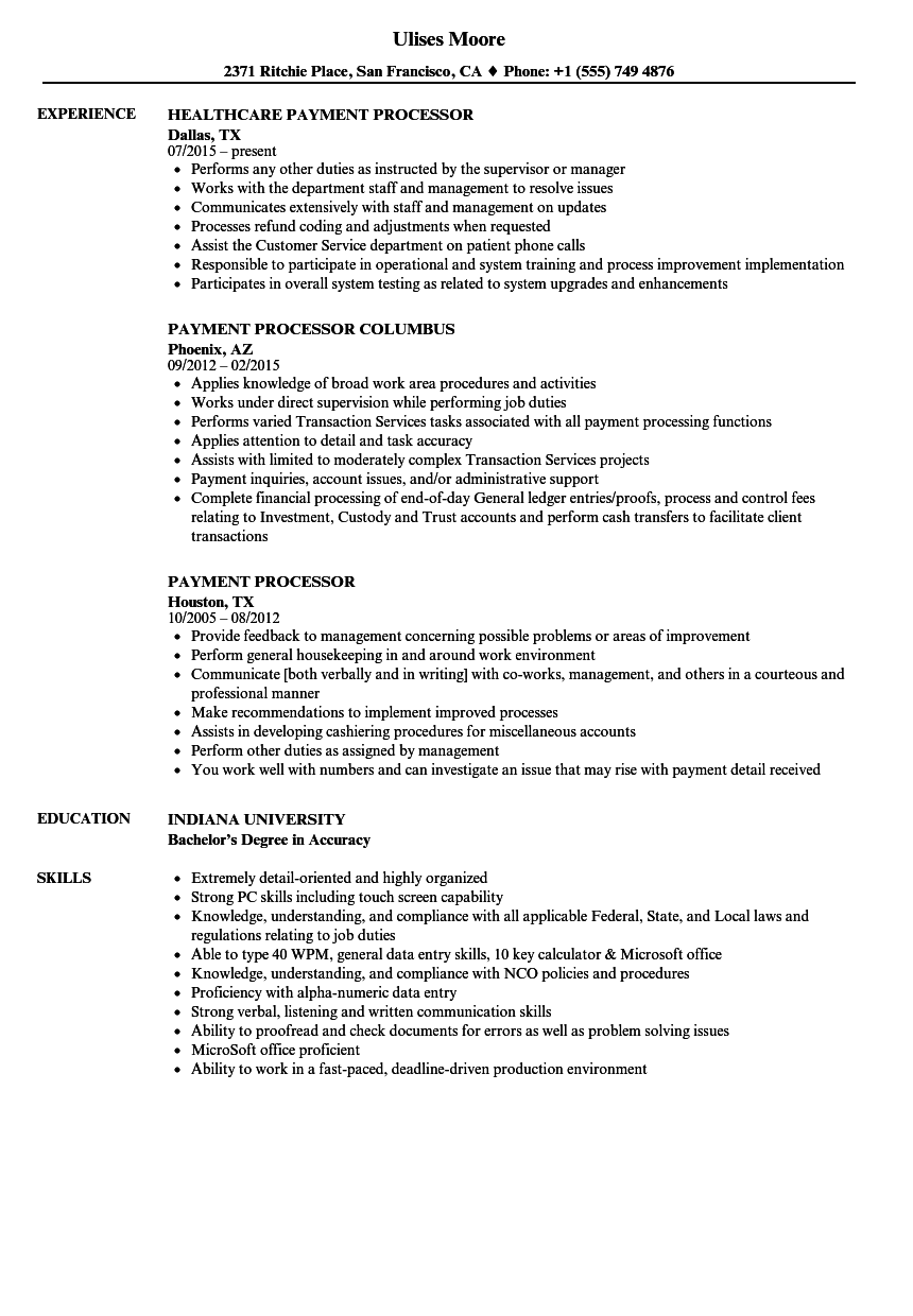 Payment Processor Resume Samples Velvet Jobs