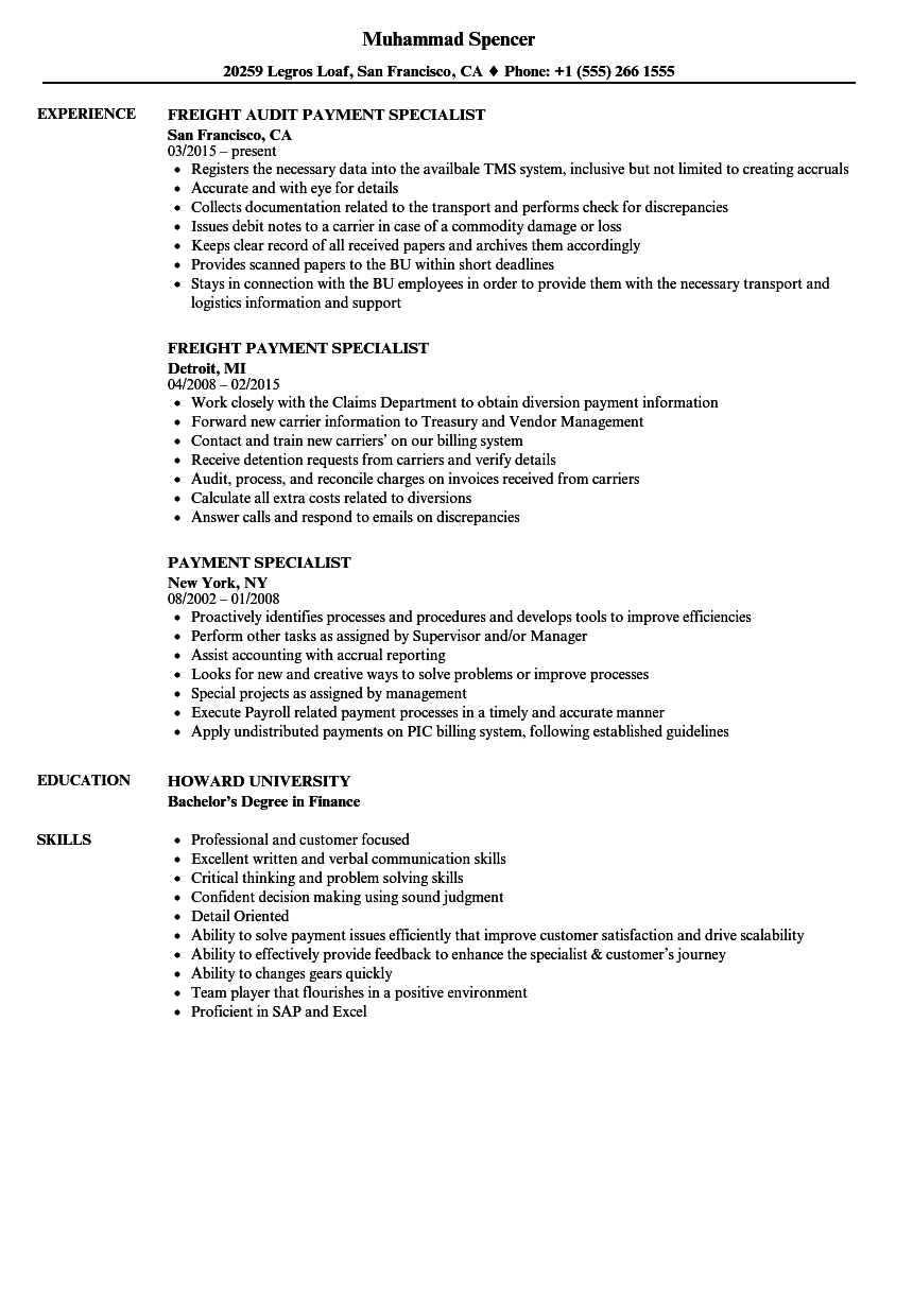 download payment specialist resume sample as image file