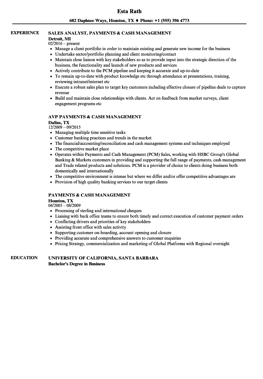 payments  u0026 cash management resume samples