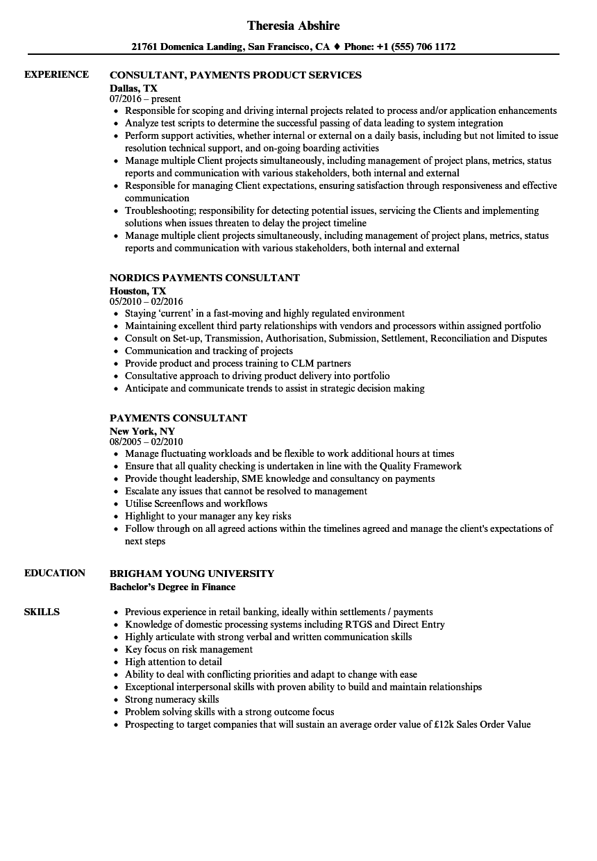payments consultant resume samples