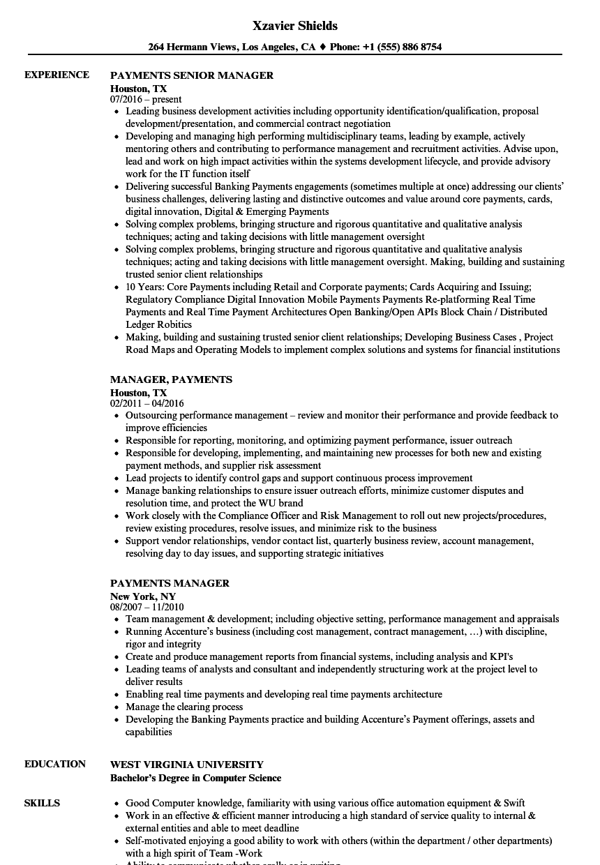 Payments Manager Resume Samples | Velvet Jobs