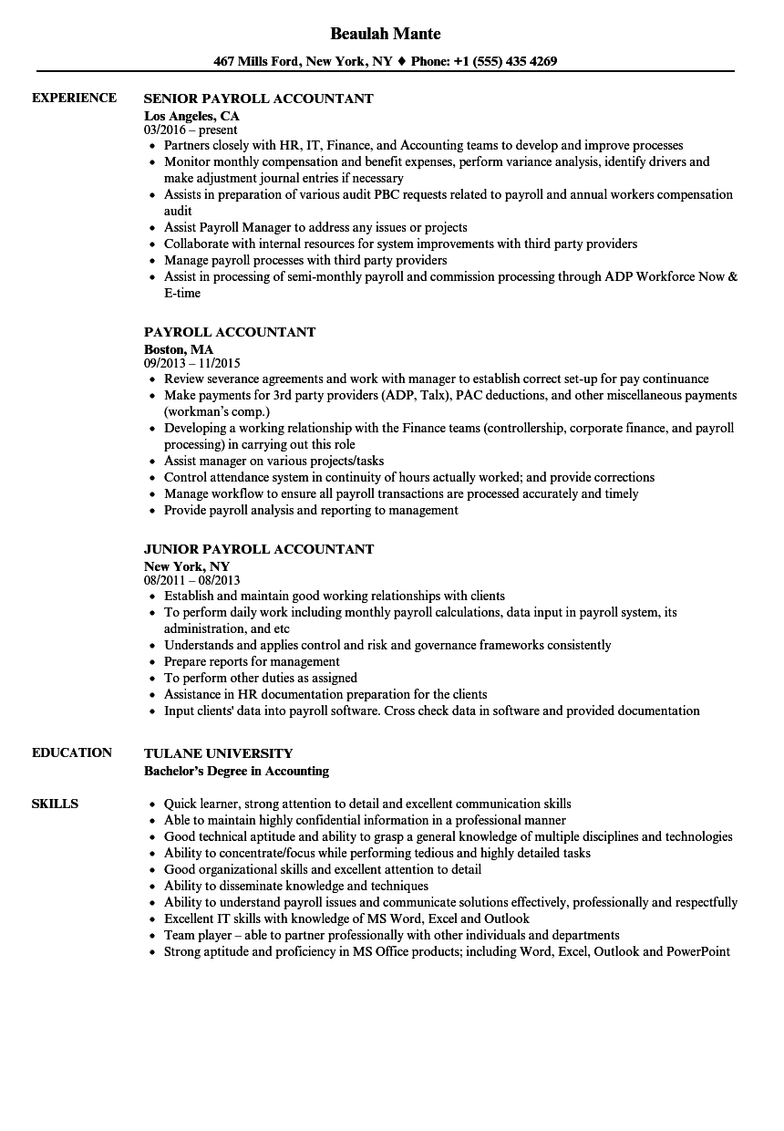 payroll accountant resume samples velvet jobs