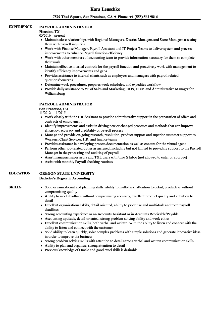 Download Payroll Administrator Resume Sample As Image File