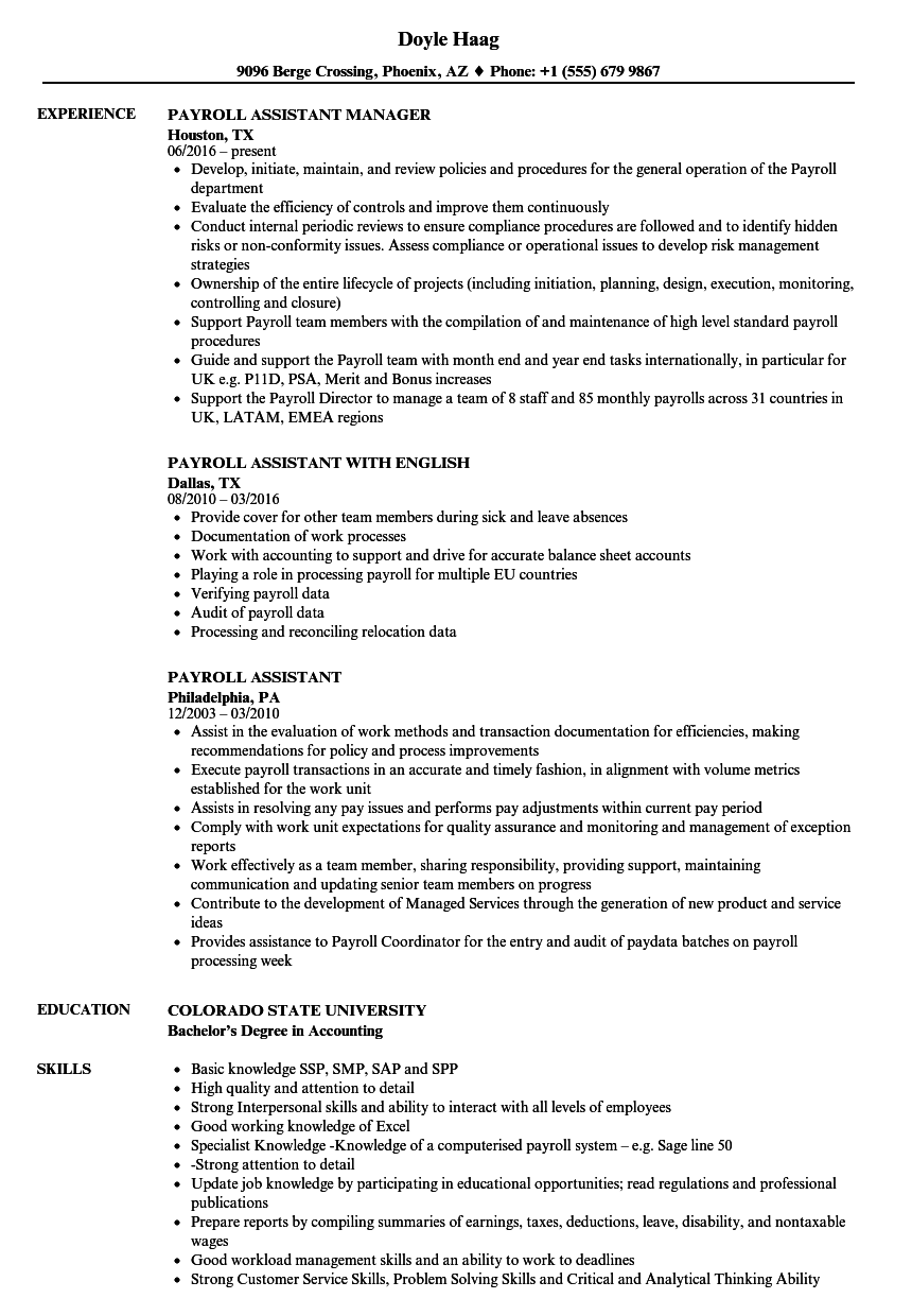 download payroll assistant resume sample as image file - Payroll Assistant Sample Resume