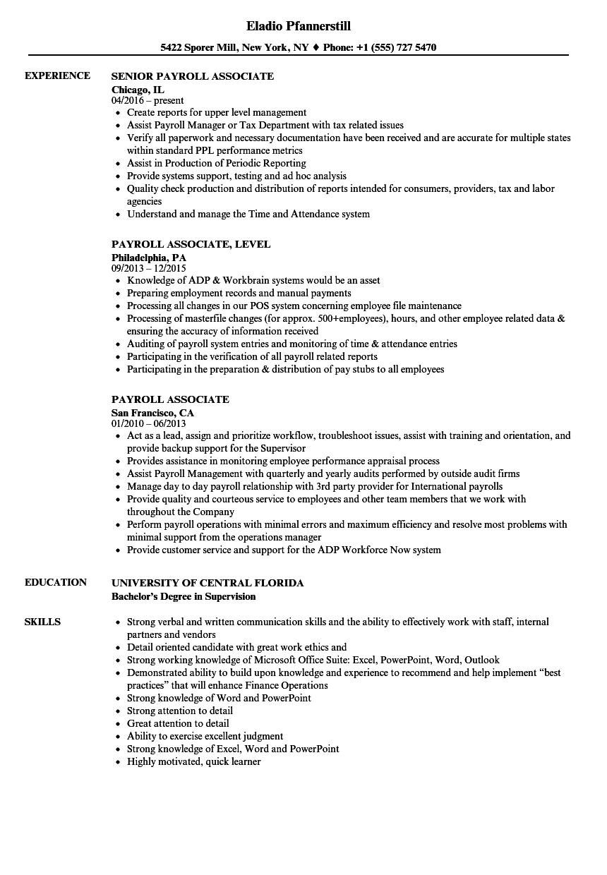 payroll associate resume samples velvet jobs
