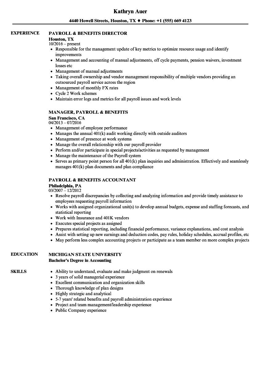 payroll  u0026 benefits resume samples