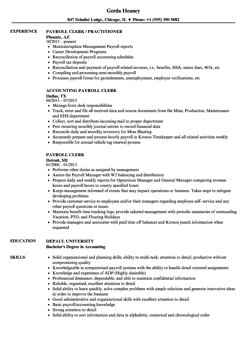 Payroll Clerk Resume Samples Velvet Jobs