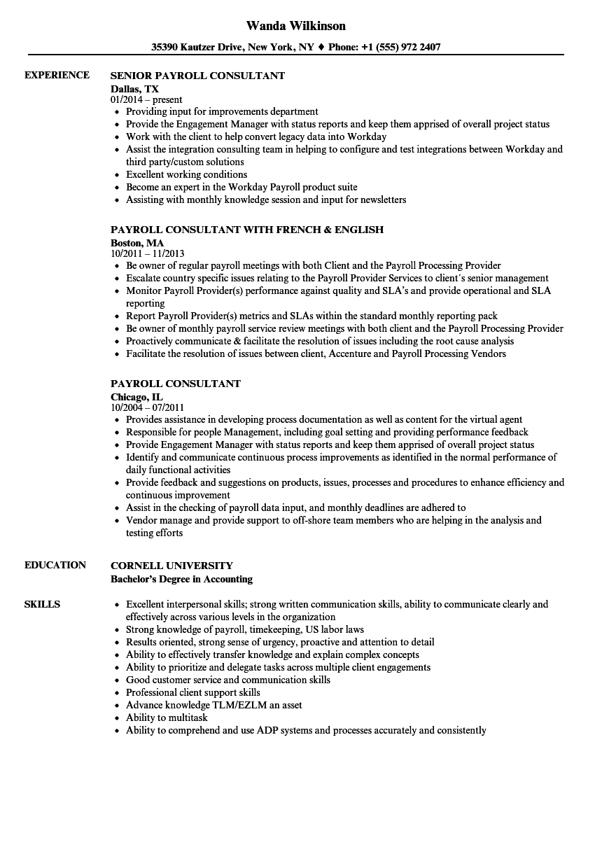 payroll consultant resume samples