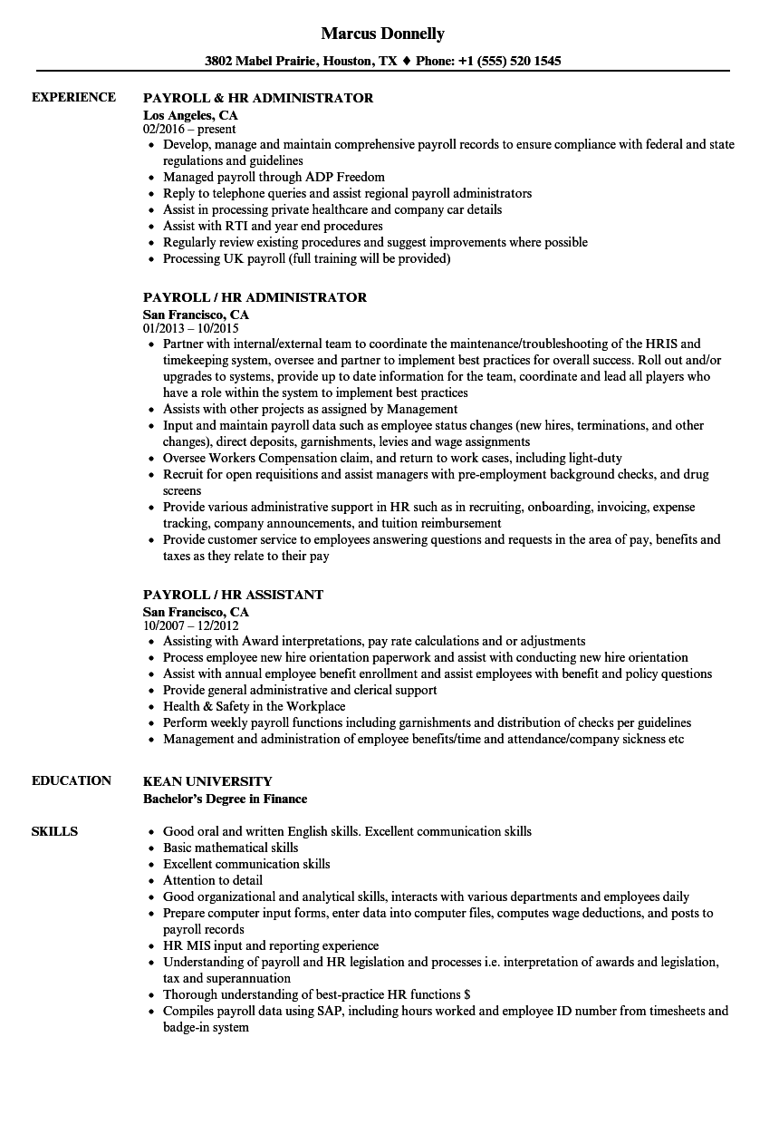 Payroll Hr Resume Samples Velvet Jobs