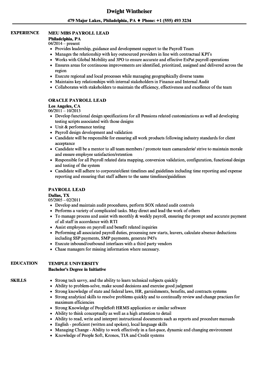 Payroll Lead Resume Samples Velvet Jobs