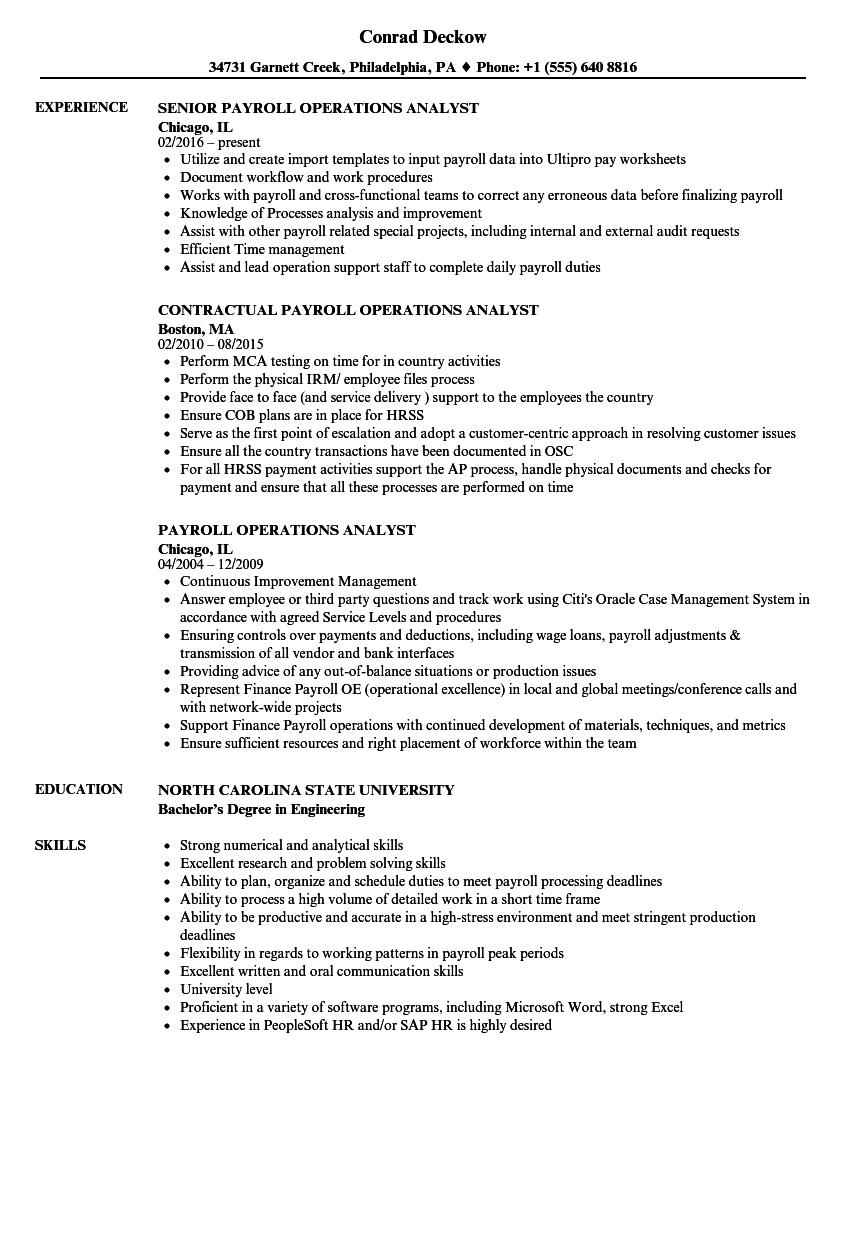 Amazing Download Payroll Operations Analyst Resume Sample As Image File