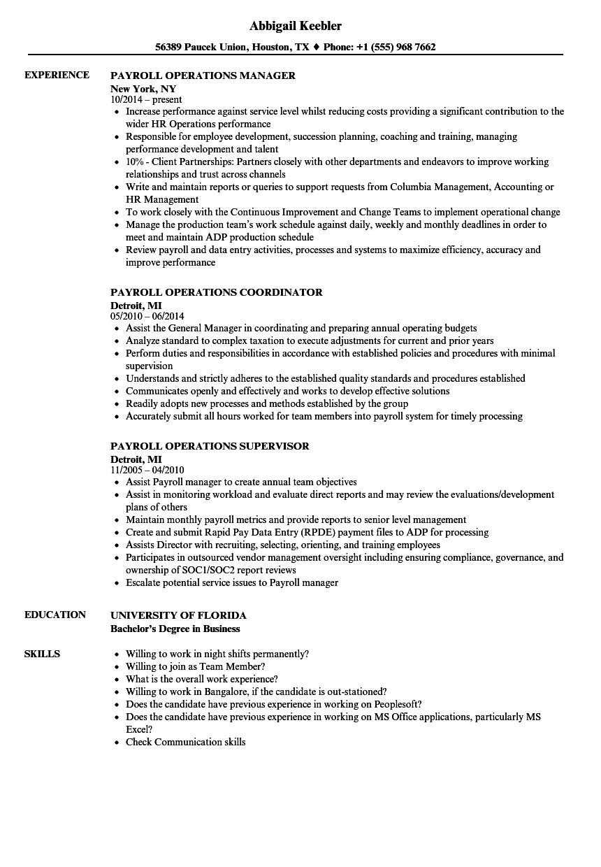 Download Payroll Operations Resume Sample As Image File