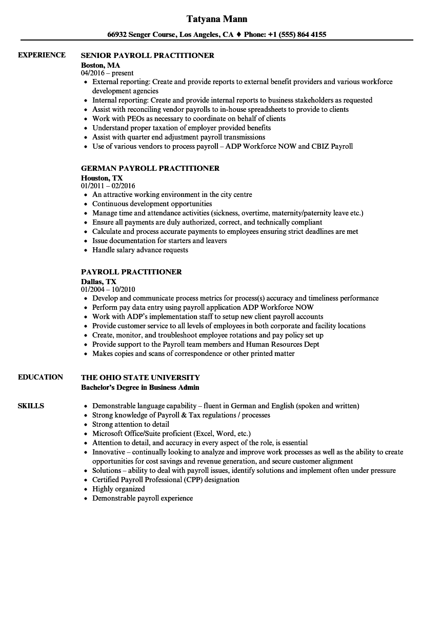 payroll practitioner resume samples